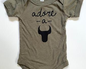 Adore-A-Bull, 3-6 months, Durham Baby Onesie -Heathered sage with Black print