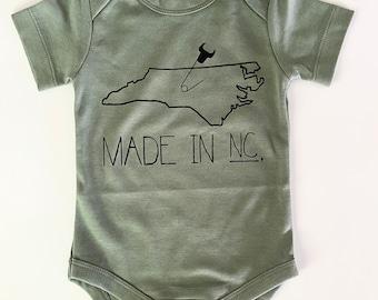Made in NC, 3-6mo, North Carolina Baby Onesie, Durham, Screen printed onesie, Thyme with Black print