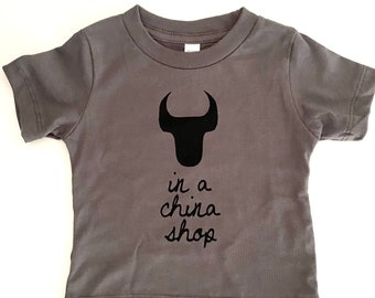 Bull In A China Shop, size: 6-12 months, Durham Baby shirt, t-shirt, Slate with Black print