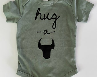 Hug-A-Bull, 3-6 months, Screen printed Baby romper/one-piece - Durham, NC, Thyme with Black print