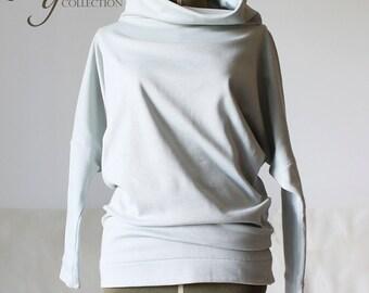 Women cotton swestshirt, gray cowl neck sweatshirt