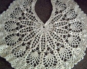 Cream Aran crochet shawl