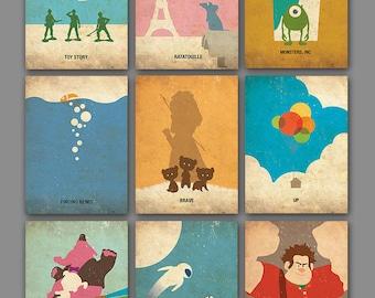 FREE SHIPPING Pixar Vintage Minimalist Poster Set of 9 Art Prints