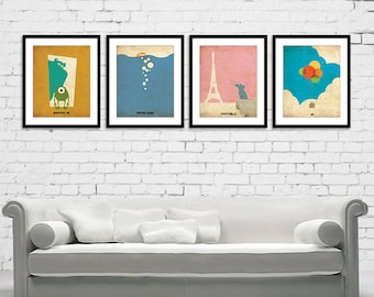 Monsters Inc Finding Nemo Ratatouille UP Minimalist Poster Print Set of 4 / Monsters, Inc., Finding Nemo, Ratatouille, UP Poster