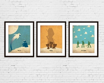 Toy Story, BRAVE and Wall-E Retro Minimalist Posters Print Set