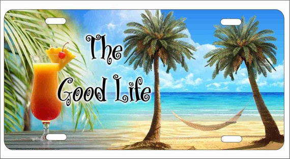 Tropical Paradise Ocean Beach Scene with Palm Trees Novelty License Plate Decorative Front Plate 6 X 12