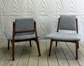 Pair Danish Style Lounge Chairs Mid Century Maharam Hallingdal Fabric Sculptural Adrian Pearsall Jens Risom Retro Atomic Modern