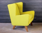 Vintage Mid Century Modern Wingback Arm Chair Jens Risom Style Atomic Retro 50 39 s 60 39 s New Upholstery Maharam Hallingdal Yellow