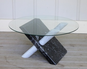 46a9a9ece332d Vintage Italian Carrara Black Marble X Base Coffee Table Mid Century Modern  Atomic Sculptural Angelo Mangiarotti Massimo Vignelli Style 70 s