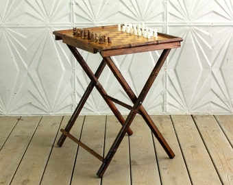 Vintage Faux Bamboo Chess Set Folding Table With Onyx Marble Pieces  Occasional Side Mid Century Teak Inlay Wood 70u0027s Board