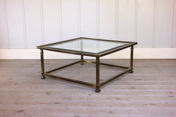 Vintage Brass Coffee Table Square Hollywood Regency Glass Top Etsy