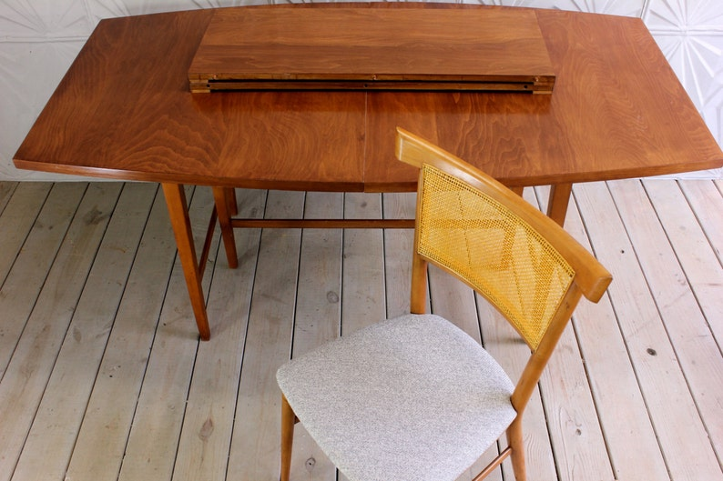 Paul Mccobb Perimeter Group Dining Set for Winchedon Set of 4 Bow Tie Cane Back Chairs Maple Mid Century Modern Retro 50/'s New Upholstery