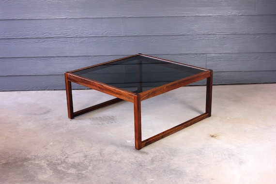 Vintage Mid Century Modern Rosewood Smoked Glass Coffee Table Etsy