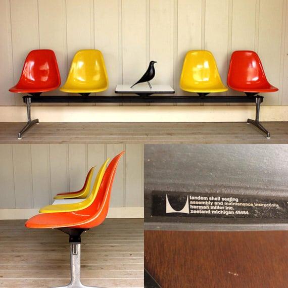 Herman Miller Eames Tandem Bench Orange Yellow Fiberglass Side | Etsy
