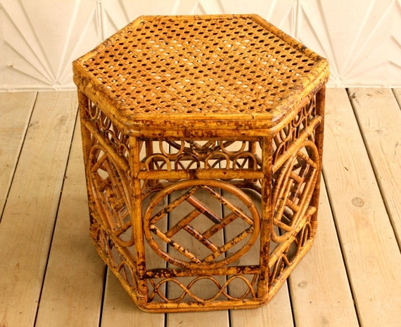 Vintage Rattan Side Table Bamboo Hexagon 60 S 70 S Mid Etsy