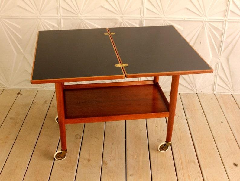 Grete Jalk Teak Wood Rolling Bar Cart Tea Table Flip Top Etsy