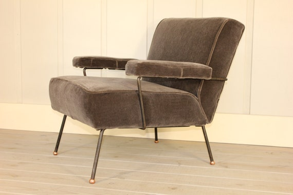 Cool Mid Century Dan Johnson For Pacific Iron Frame Lounge Chair Copper Feet New Grey Mohair Fabric Modern Retro 40S 50S 60S Early Rare Andrewgaddart Wooden Chair Designs For Living Room Andrewgaddartcom