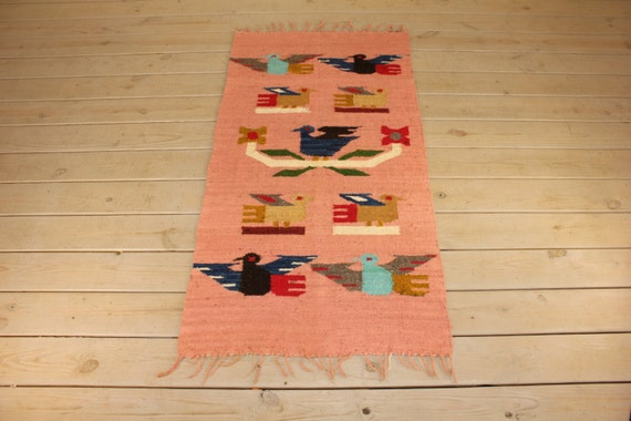 Vintage Large Wool Tapestry Wall Hanging Colorful Southwestern Etsy