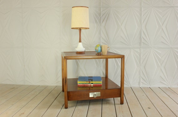 Baker Furniture Side Table Designed By Michael Taylor Mid Century Walnut  Shelf Modern 50u0027s 60u0027s Retro End 2 Tier