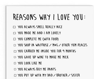 Reasons Why I Love You Mothers Day Cute Cheeky Naughty Mothers Day Card