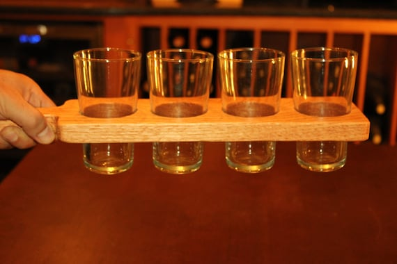 hand made red oak beer flight paddle with or without 7 ounce etsy
