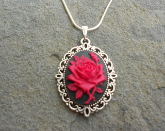 Red and Black Rose with Rosebud Cameo Pendant