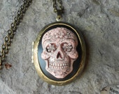 CAMEO LOCKET - Hand Painted Sugar Skull - Skeleton - Day of the Dead - Skull - Halloween - Goth - Steampunk - Bronze - Great Quality