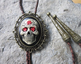 QUALITY!! GOTH HAND PAINTED CAMEO NECKLACE!! **SKULL AND ROSES SUGAR SKULL