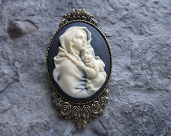 RELIGIOUS LORD XMAS GOD HOLIDAY! 2 IN 1 JESUS CAMEO BROOCH//PIN//PENDANT!