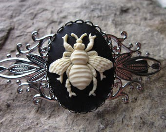 Large Silver Bee Barrette Antiqued Silver Bee Silver Flying Bee Barrette Filigree Barrette Embeelish Silver Bee Accessory