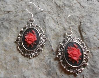 Gorgeous Rose Cameo .925 Hook Earrings!!!  Wonderful Quality!!!