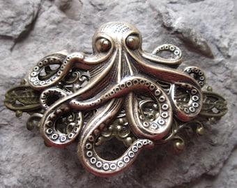 Choose Bronze or Silver - Octopus Filigree Barrette - Hair Accessory - Hair Jewelry - Squid - Ocean - Sea - Kraken