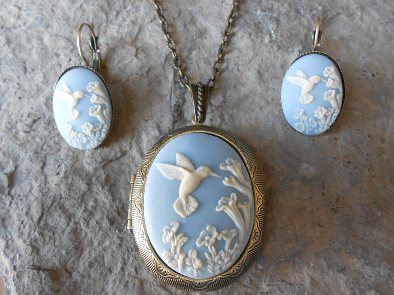 Quality Hummingbird Bronze Locket and French Lever Back Earrings Set - Antiqued Look Blue Wedding -Bridesmaid