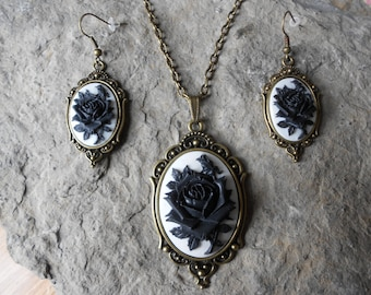 Stunning 2 Piece Bronze Set- Black Rose on a Beautiful White Background Cameo Necklace and Earrings Set- Great Quality