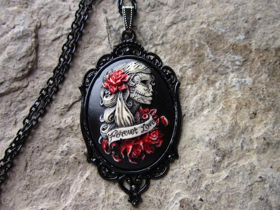 """Esqueleto Lady camafeo colgante día de los muertos Collar De Plata 24/"""" Steampunk Calavera"""
