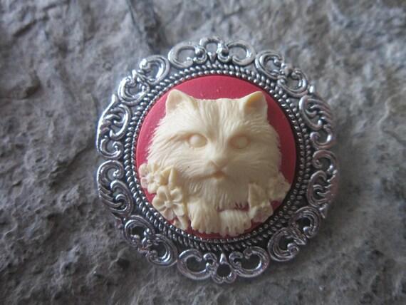 Vintage White Angora Cat Cloisonne Pin 1a