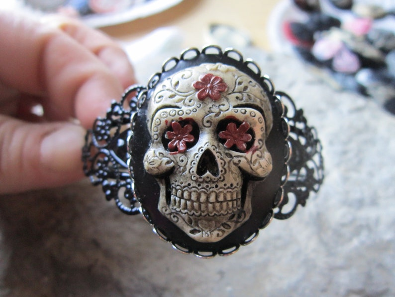 Mexican Sugar Skull Hand Painted Cameo Black Filigree image 0