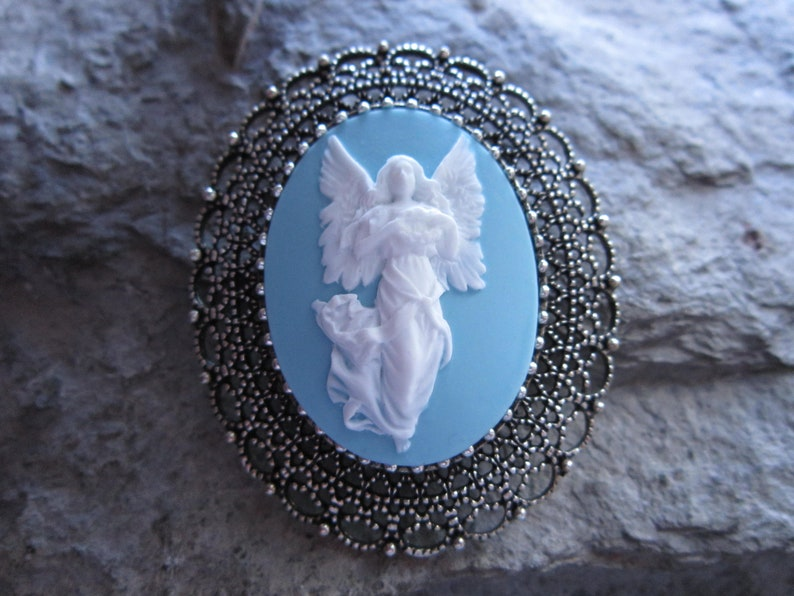 Peach Christmas Blue or Pink Guardian Angel Cameo BroochPinPendant Easter Purple Choose Royal Blue Burgundy Religious 2 in 1