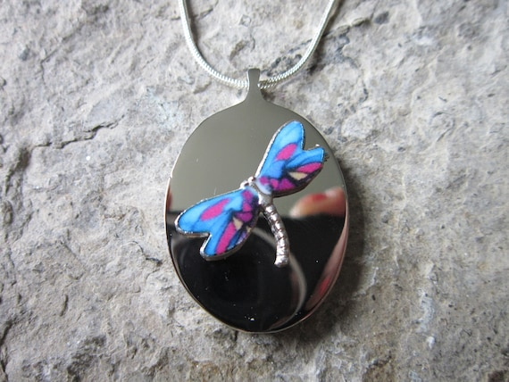 Urn Cremation Jewelry Memorial Dragonfly Stainless Steel Urn Necklace Choose BluePink or PinkBlue Flowers Ashes Lock of Hair