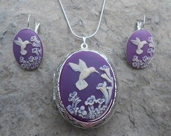 """LOCKET and FRENCH EARRINGS Set--Stunning Hummingbird (ivory on purple/plum) -- Weddings, Christmas ---.925 plated 22"""" Chain--- Great Quality"""