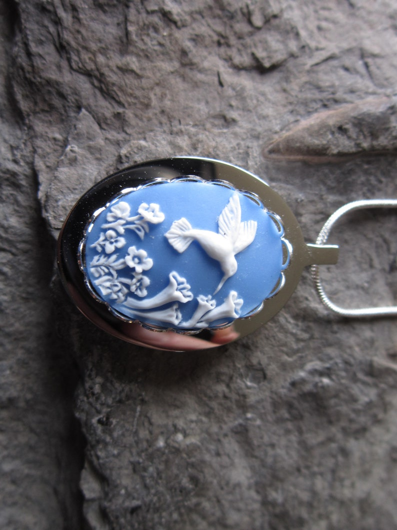 Hummingbird on Sky Blue Cameo Stainless Steel Urn Necklace Stainless Steel or Gold Plated Ashes -Lock of Hair- Bird Memorial Urn