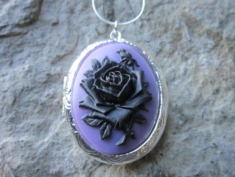 cad050515cc1 Elegir plata o bronce Rosa Negra en medallón camafeo