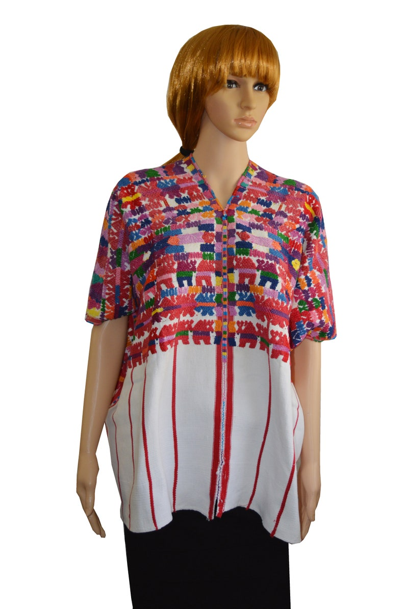 66eddb5ad8a Embroidered blouse San Pedro Sacatepequez huipil Animal and