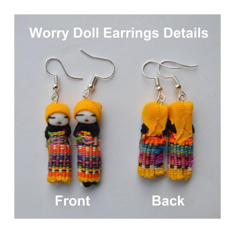 Indian earrings Worry dolls earrings Guatemalan earrings Dream-catcher Earring Dangling Earring Gypsy earrings Native American earrings