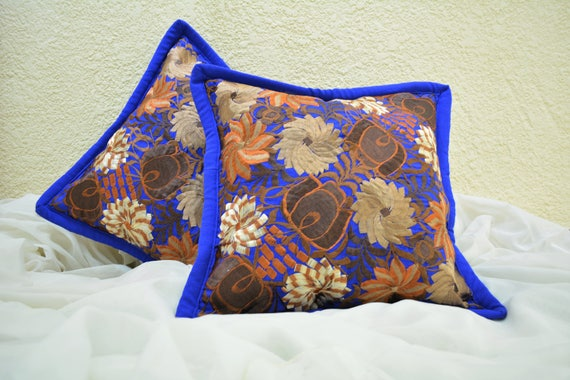 Throw Pillow Covers Floral Pillow 18x18 Royal Etsy