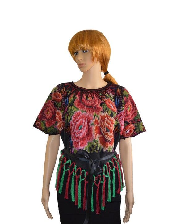 Tassel blouse Fringe huipil Embroidered floral blo