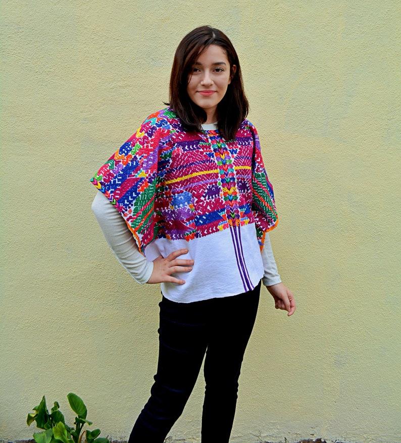 db9283a7d32 Embroidered poncho huipil Guatemalan vintage huipil Mayan