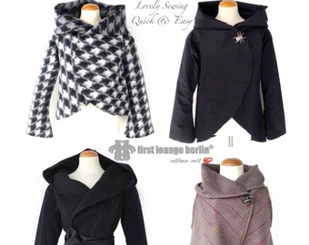 US-Martha eBook jacket with collar or hoodie in 5 sizes XS-XXL sewing instruction with pattern design from firstloungeberlin Ladies Women