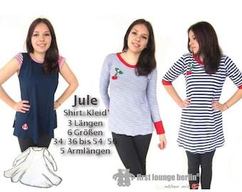 Jule *** eBook PDF-Datei für Shirt & Kleid Gr. XS-XXL Nähanleitung mit Schnittmuster auch für Nähanfänger Design von firstloungeberlin.com