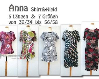 Anna *** eBook Shirt & Kleid Gr. XS-XXXL in 5 Längen Nähanleitung mit Schnittmuster Design von firstloungeberlin.com